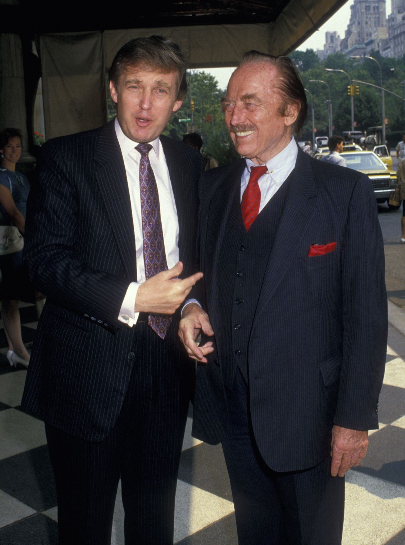 Donald Trump and Fred Trump during Donald Trump Holds a Press Conference - July 26, 1988 at The Plaza Hotel in New York City